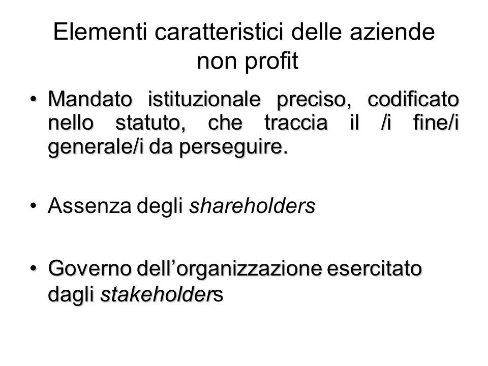 Elementi caratteristici delle aziende non profit Mandato istituzionale preciso, codificato nello statuto, che traccia il /i fine/i generale/i da perseguire.Mandato istituzionale preciso, codificato nello statuto, che traccia il /i fine/i generale/i da perseguire.