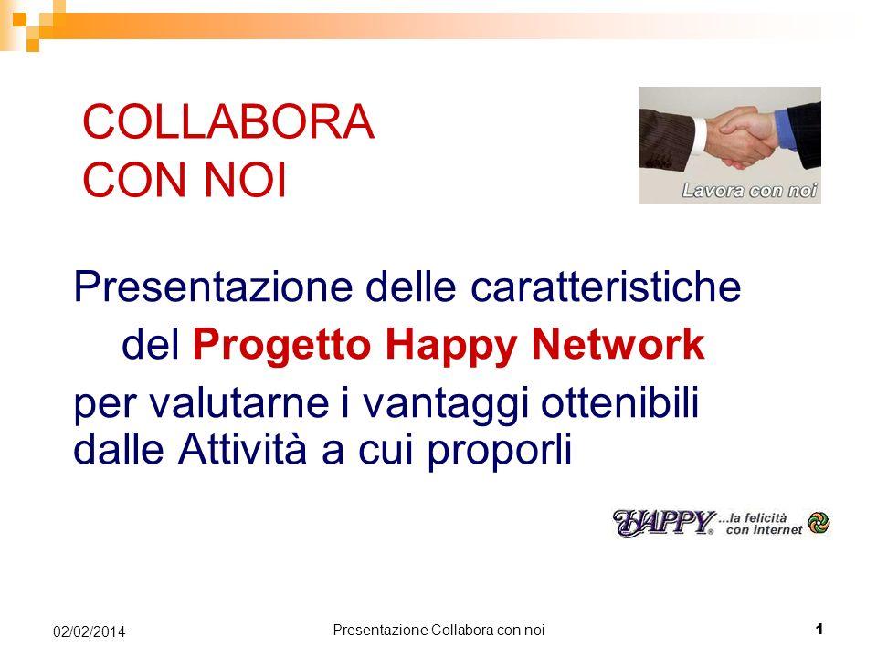 Presentazione Collabora con noi 1 02/02/2014 COLLABORA CON NOI Presentazione delle caratteristiche del Progetto Happy Network per valutarne i vantaggi ottenibili dalle Attività a cui proporli
