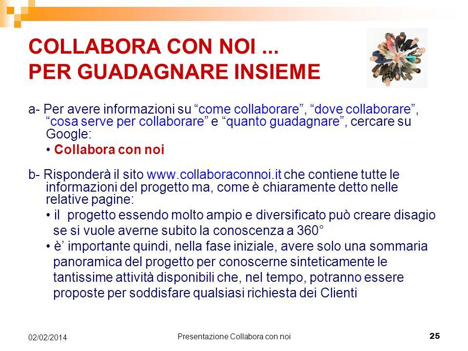 Presentazione Collabora con noi 25 02/02/2014 COLLABORA CON NOI...