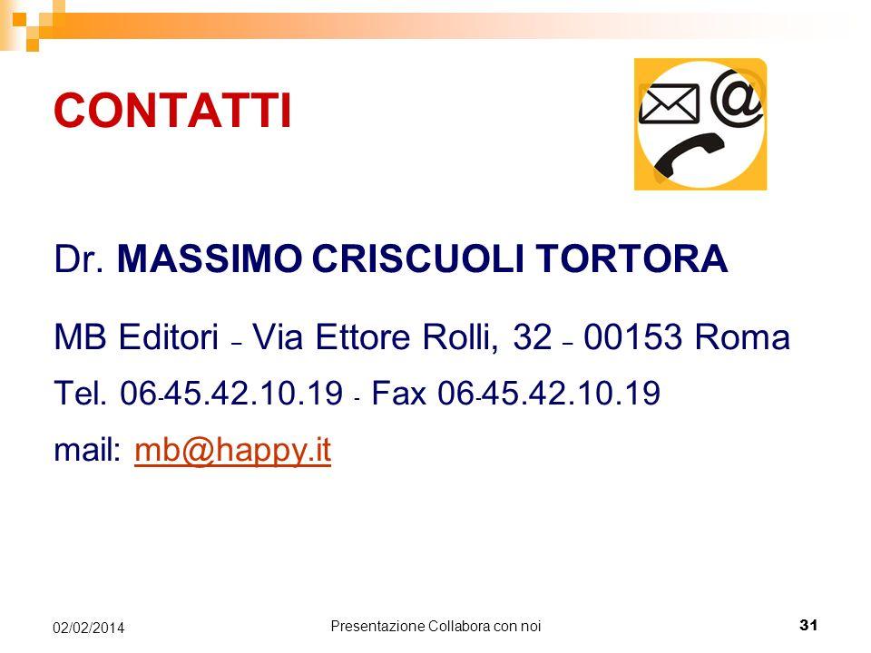 Presentazione Collabora con noi 31 02/02/2014 CONTATTI Dr.