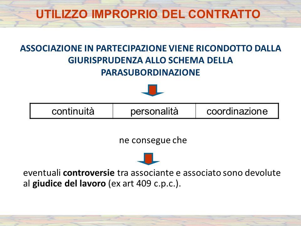 ASSOCIAZIONE IN PARTECIPAZIONE VIENE RICONDOTTO DALLA GIURISPRUDENZA ALLO SCHEMA DELLA PARASUBORDINAZIONE ne consegue che eventuali controversie tra associante e associato sono devolute al giudice del lavoro (ex art 409 c.p.c.).