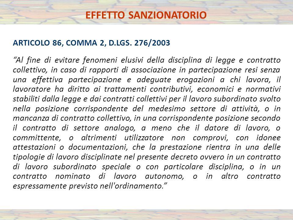 EFFETTO SANZIONATORIO ARTICOLO 86, COMMA 2, D.LGS.