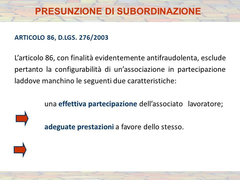 ARTICOLO 86, D.LGS.