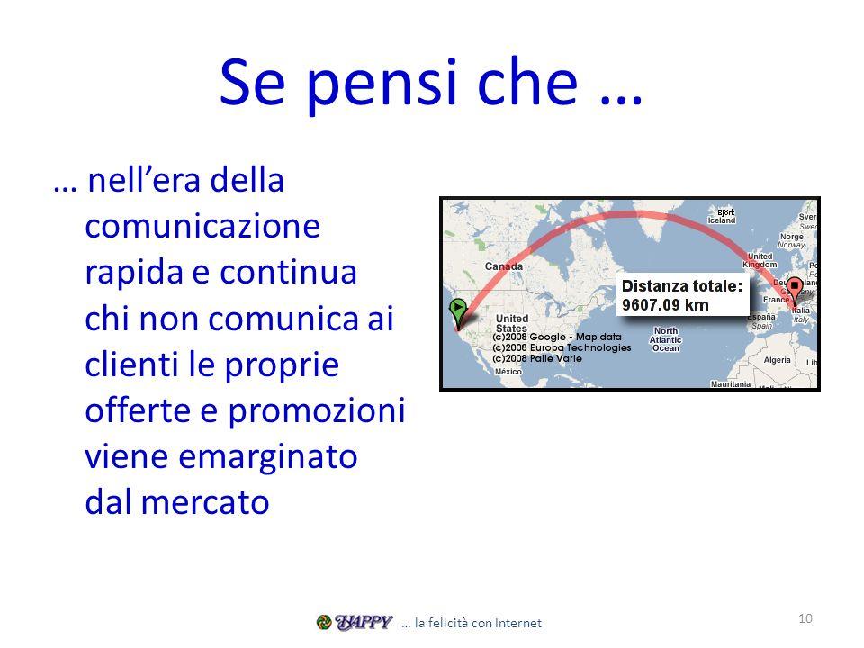 Se pensi che … … nellera della comunicazione rapida e continua chi non comunica ai clienti le proprie offerte e promozioni viene emarginato dal mercato 10 … la felicità con Internet