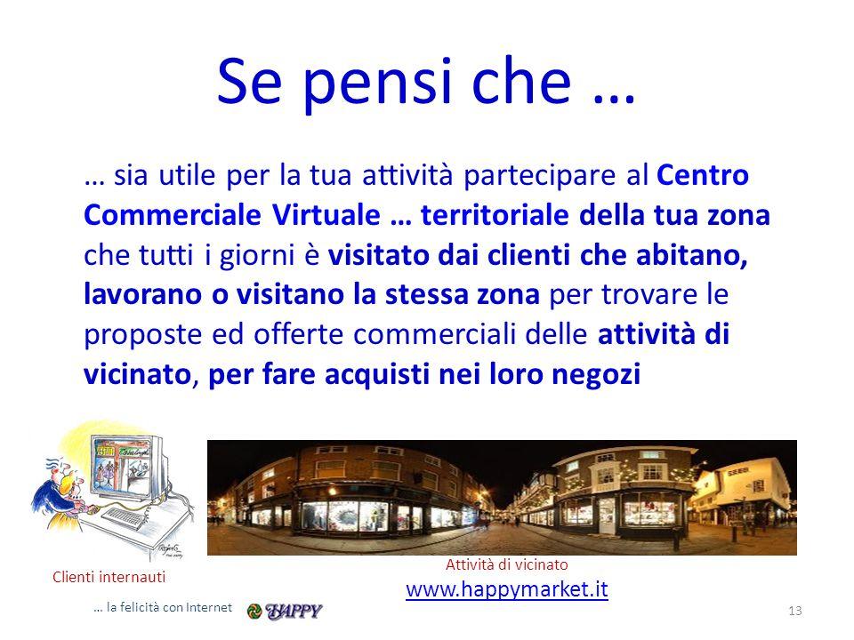 Se pensi che … … sia utile per la tua attività partecipare al Centro Commerciale Virtuale … territoriale della tua zona che tutti i giorni è visitato