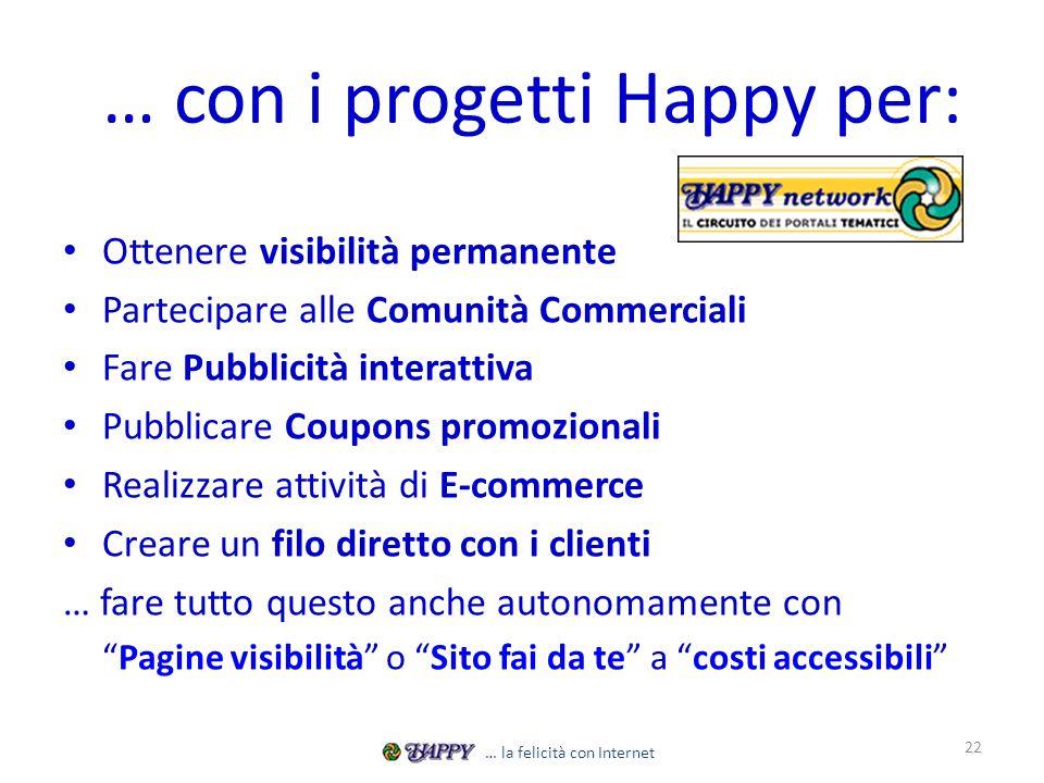… con i progetti Happy per: Ottenere visibilità permanente Partecipare alle Comunità Commerciali Fare Pubblicità interattiva Pubblicare Coupons promoz