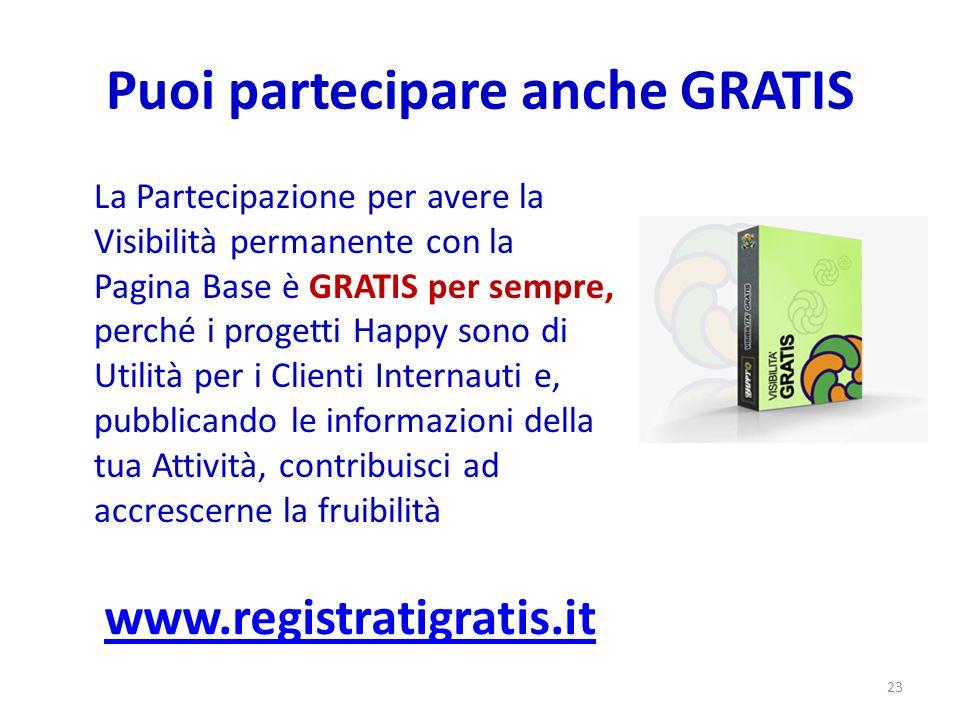 Puoi partecipare anche GRATIS La Partecipazione per avere la Visibilità permanente con la Pagina Base è GRATIS per sempre, perché i progetti Happy son