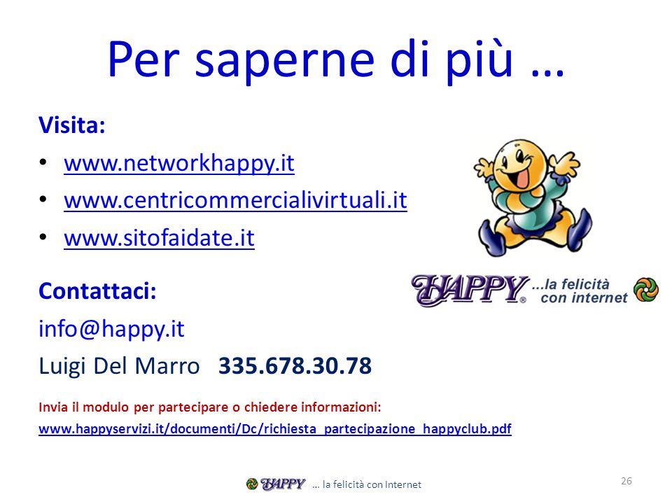 Per saperne di più … Visita: www.networkhappy.it www.centricommercialivirtuali.it www.sitofaidate.it Contattaci: info@happy.it Luigi Del Marro 335.678