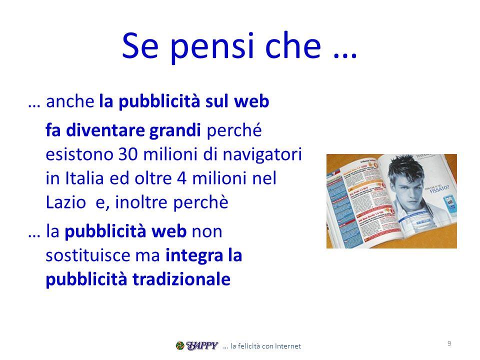 Se pensi che … … anche la pubblicità sul web fa diventare grandi perché esistono 30 milioni di navigatori in Italia ed oltre 4 milioni nel Lazio e, inoltre perchè … la pubblicità web non sostituisce ma integra la pubblicità tradizionale 9 … la felicità con Internet