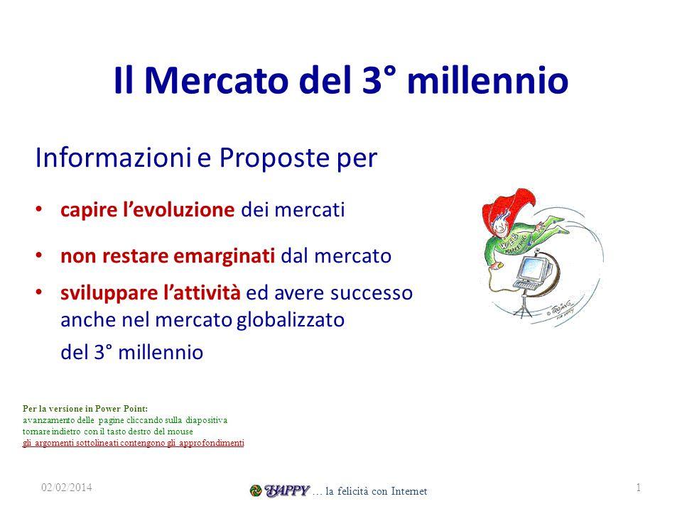 Il Mercato del 3° millennio Informazioni e Proposte per capire levoluzione dei mercati non restare emarginati dal mercato sviluppare lattività ed aver