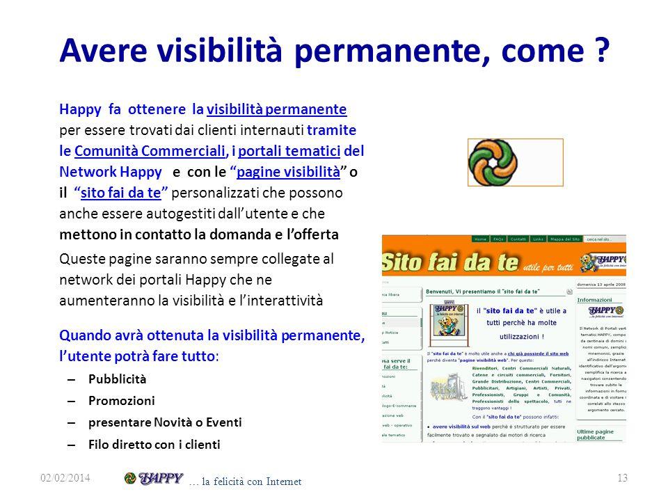 Avere visibilità permanente, come ? Happy fa ottenere la visibilità permanente per essere trovati dai clienti internauti tramite le Comunità Commercia