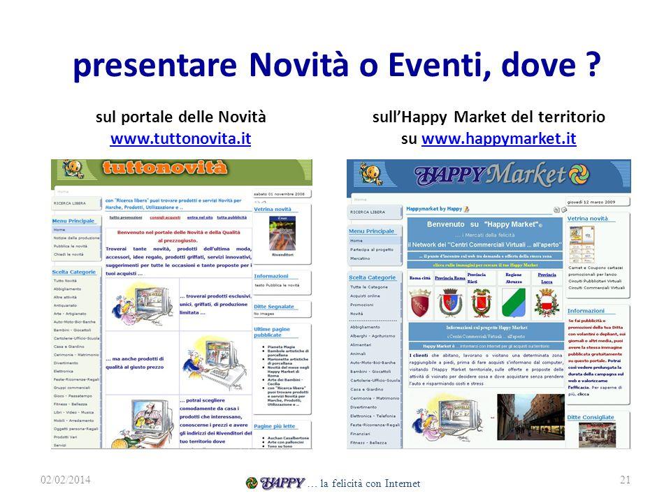 presentare Novità o Eventi, dove ? sul portale delle Novità www.tuttonovita.it sullHappy Market del territorio su www.happymarket.itwww.happymarket.it