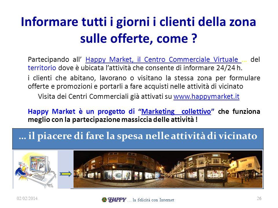 Informare tutti i giorni i clienti della zona sulle offerte, come ? Partecipando all Happy Market, il Centro Commerciale Virtuale … del territorio dov