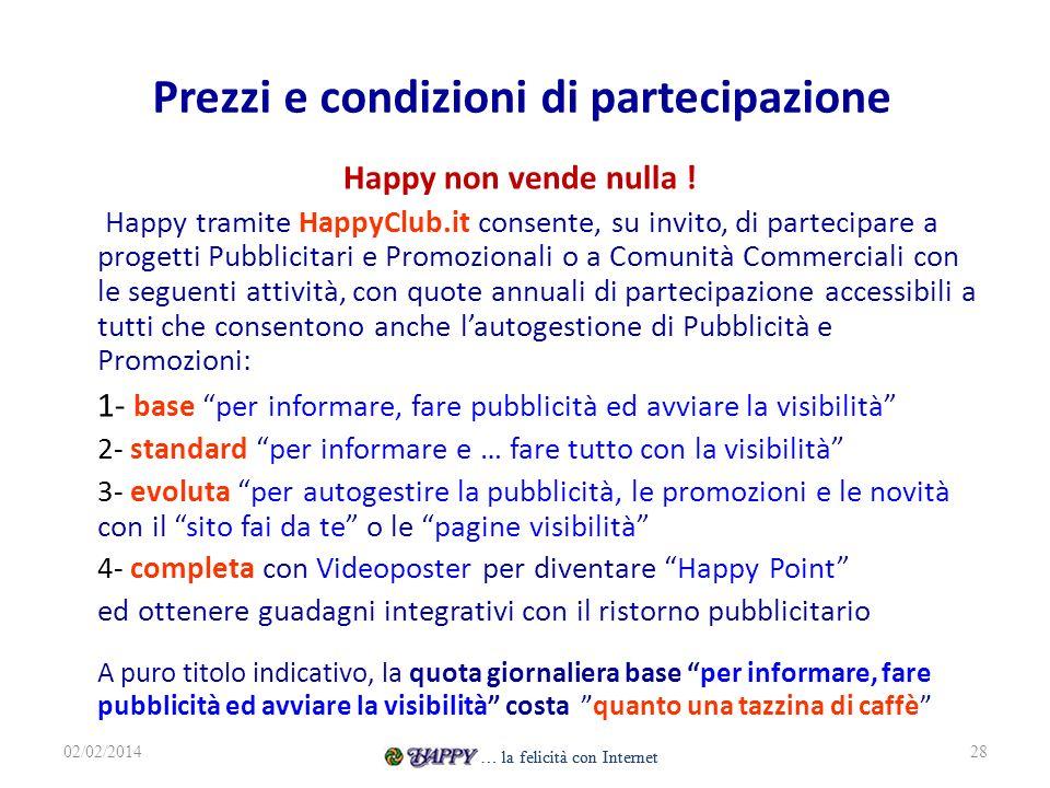 Prezzi e condizioni di partecipazione Happy non vende nulla ! Happy tramite HappyClub.it consente, su invito, di partecipare a progetti Pubblicitari e