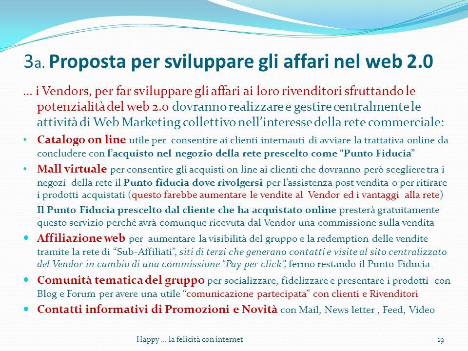 3 a. Proposta per sviluppare gli affari nel web 2.0 … i Vendors, per far sviluppare gli affari ai loro rivenditori sfruttando le potenzialità del web
