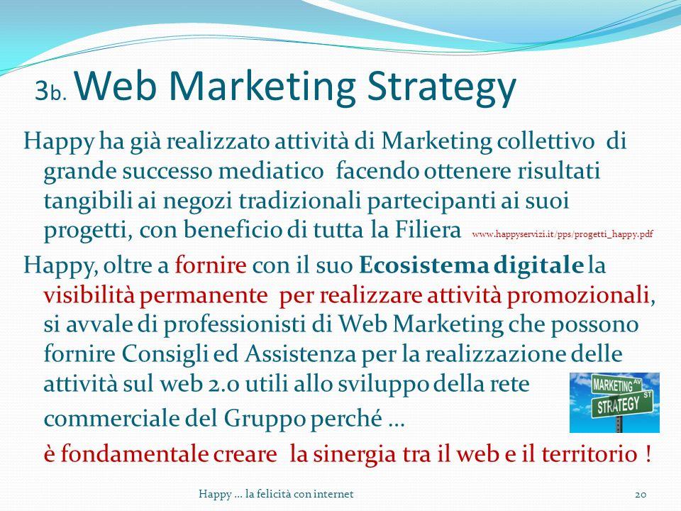 3 b. Web Marketing Strategy Happy ha già realizzato attività di Marketing collettivo di grande successo mediatico facendo ottenere risultati tangibili