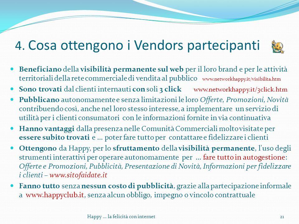 4. Cosa ottengono i Vendors partecipanti Beneficiano della visibilità permanente sul web per il loro brand e per le attività territoriali della rete c