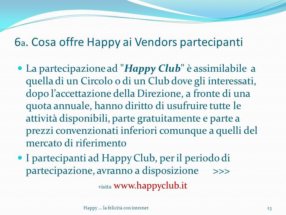 6 a. Cosa offre Happy ai Vendors partecipanti La partecipazione ad