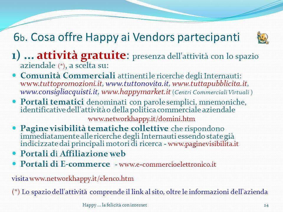 6 b. Cosa offre Happy ai Vendors partecipanti 1)...