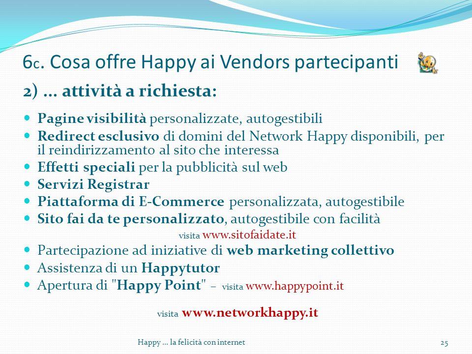6 c. Cosa offre Happy ai Vendors partecipanti 2)...