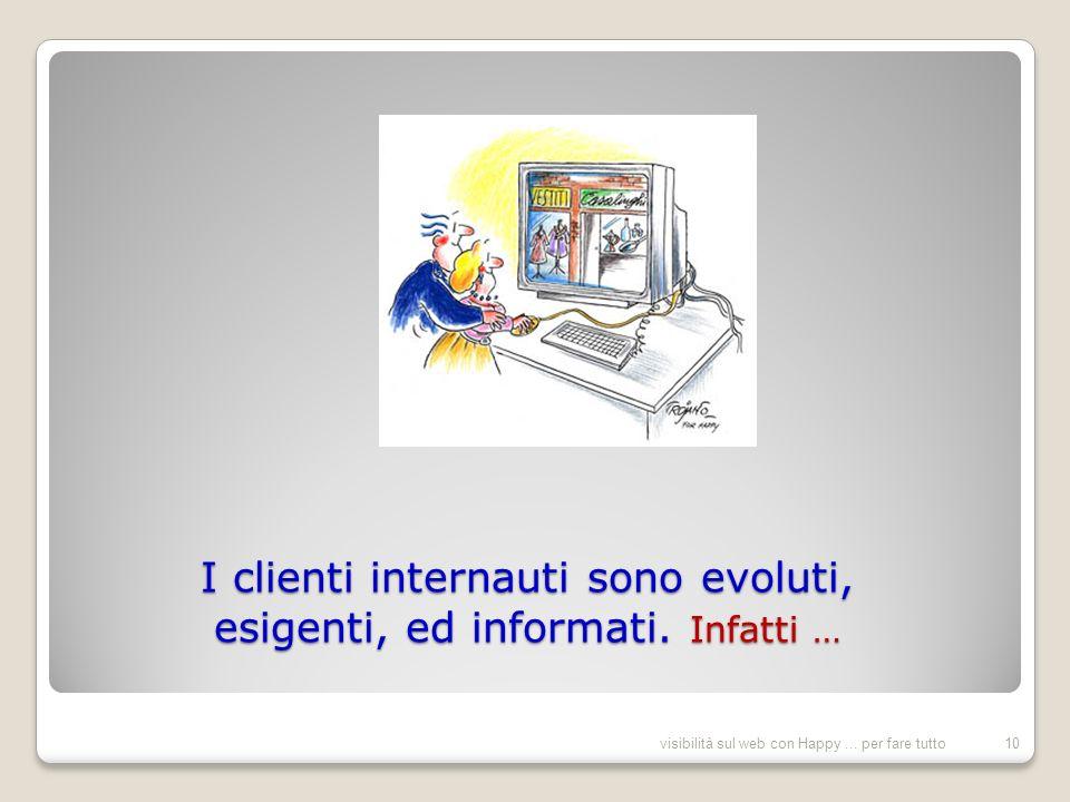 I clienti internauti sono evoluti, esigenti, ed informati.