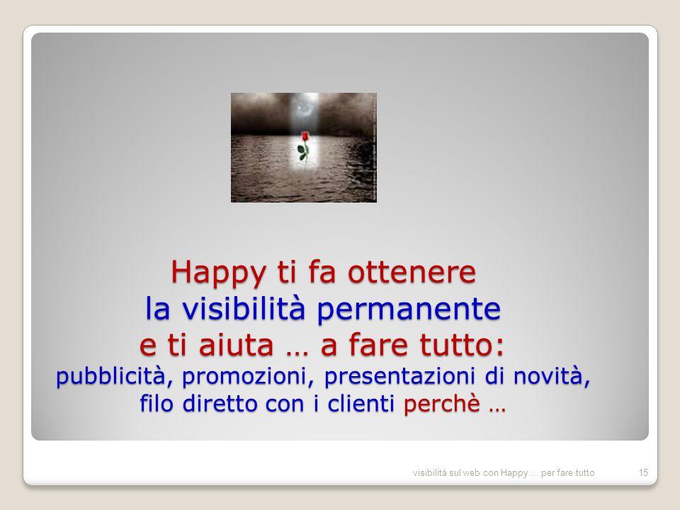 Happy ti fa ottenere la visibilità permanente e ti aiuta … a fare tutto: pubblicità, promozioni, presentazioni di novità, filo diretto con i clienti perchè … 15visibilità sul web con Happy...