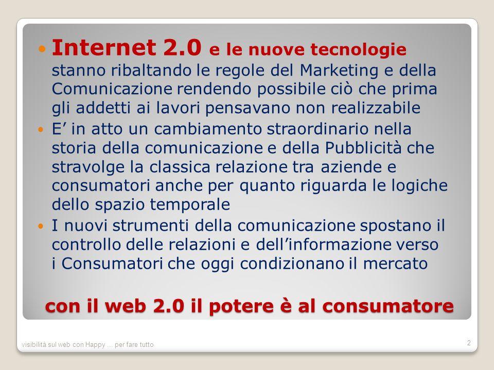 con il web 2.0 il potere è al consumatore Internet 2.0 e le nuove tecnologie stanno ribaltando le regole del Marketing e della Comunicazione rendendo possibile ciò che prima gli addetti ai lavori pensavano non realizzabile E in atto un cambiamento straordinario nella storia della comunicazione e della Pubblicità che stravolge la classica relazione tra aziende e consumatori anche per quanto riguarda le logiche dello spazio temporale I nuovi strumenti della comunicazione spostano il controllo delle relazioni e dellinformazione verso i Consumatori che oggi condizionano il mercato visibilità sul web con Happy...