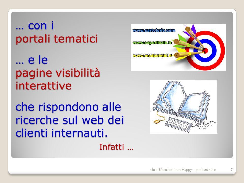 … Happy seguita a proporre visibilità permanente con i Portali e tematici e le Pagine visibilità collettive e personalizzate …Happy già proponeva visibilità nel 1996 visibilità sul web con Happy...