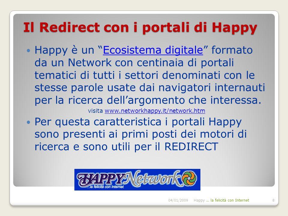 Il Redirect con i portali di Happy Happy è un Ecosistema digitale formato da un Network con centinaia di portali tematici di tutti i settori denominati con le stesse parole usate dai navigatori internauti per la ricerca dellargomento che interessa.Ecosistema digitale visita www.networkhappy.it/network.htmwww.networkhappy.it/network.htm Per questa caratteristica i portali Happy sono presenti ai primi posti dei motori di ricerca e sono utili per il REDIRECT 04/01/2009Happy … la felicità con Internet8