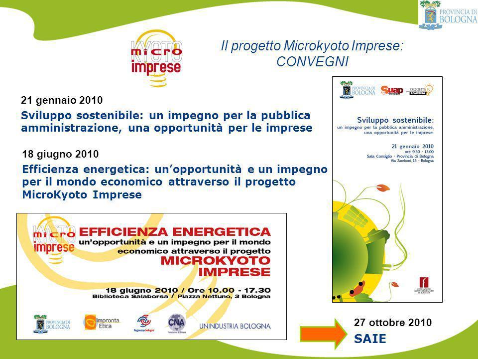 Il progetto Microkyoto Imprese: CONVEGNI 21 gennaio 2010 Sviluppo sostenibile: un impegno per la pubblica amministrazione, una opportunità per le imprese 18 giugno 2010 Efficienza energetica: unopportunità e un impegno per il mondo economico attraverso il progetto MicroKyoto Imprese 27 ottobre 2010 SAIE