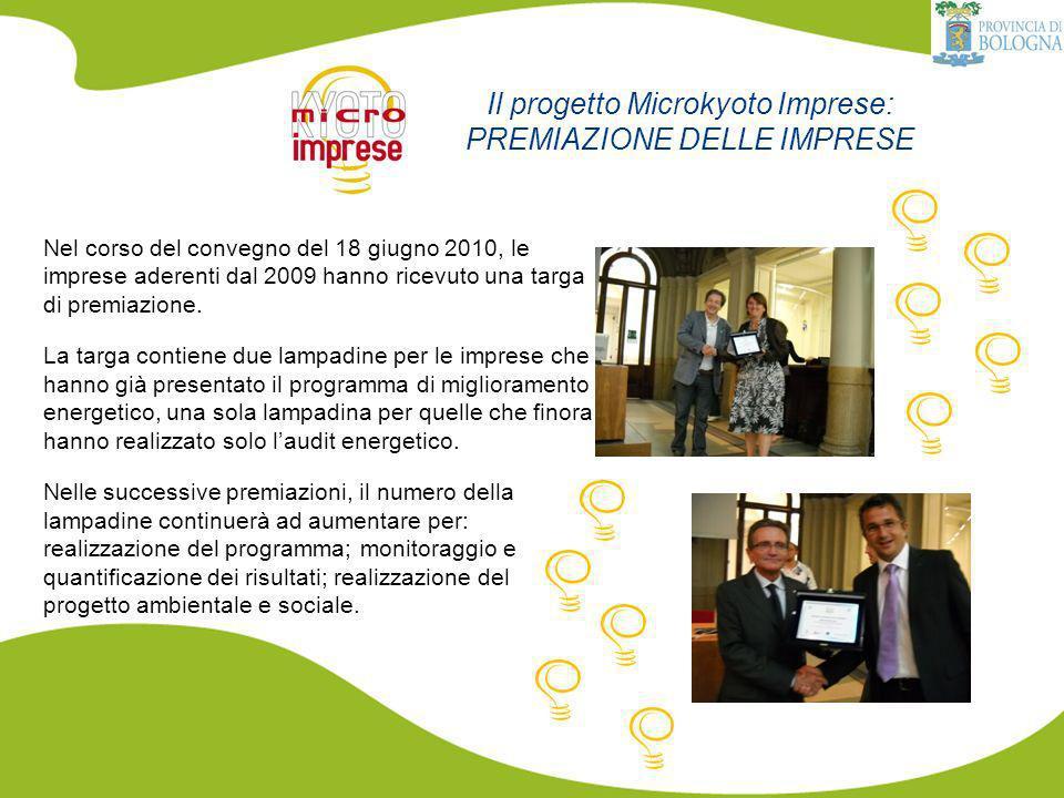 Il progetto Microkyoto Imprese: PREMIAZIONE DELLE IMPRESE Nel corso del convegno del 18 giugno 2010, le imprese aderenti dal 2009 hanno ricevuto una targa di premiazione.
