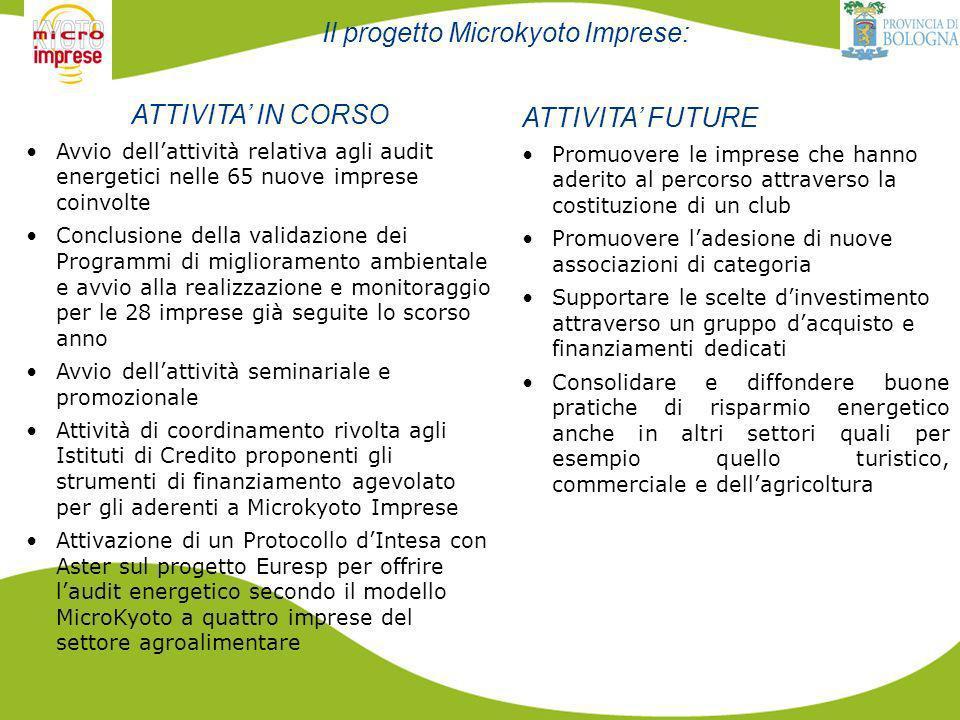 Il progetto Microkyoto Imprese: ATTIVITA IN CORSO Avvio dellattività relativa agli audit energetici nelle 65 nuove imprese coinvolte Conclusione della validazione dei Programmi di miglioramento ambientale e avvio alla realizzazione e monitoraggio per le 28 imprese già seguite lo scorso anno Avvio dellattività seminariale e promozionale Attività di coordinamento rivolta agli Istituti di Credito proponenti gli strumenti di finanziamento agevolato per gli aderenti a Microkyoto Imprese Attivazione di un Protocollo dIntesa con Aster sul progetto Euresp per offrire laudit energetico secondo il modello MicroKyoto a quattro imprese del settore agroalimentare ATTIVITA FUTURE Promuovere le imprese che hanno aderito al percorso attraverso la costituzione di un club Promuovere ladesione di nuove associazioni di categoria Supportare le scelte dinvestimento attraverso un gruppo dacquisto e finanziamenti dedicati Consolidare e diffondere buone pratiche di risparmio energetico anche in altri settori quali per esempio quello turistico, commerciale e dellagricoltura