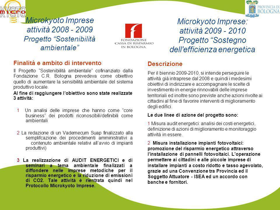 Si basa su Protocollo di intesa MicroKyoto Imprese: http://www.provincia.bologna.it/ag21/http://www.provincia.bologna.it/ag21/ A chi si rivolge ASSOCIAZIONI DI CATEGORIA IMPRESE Il Protocollo viene sottoscritto dalla Provincia di Bologna e dalle associazioni di categoria e dalle associazioni di imprese del territorio provinciale.