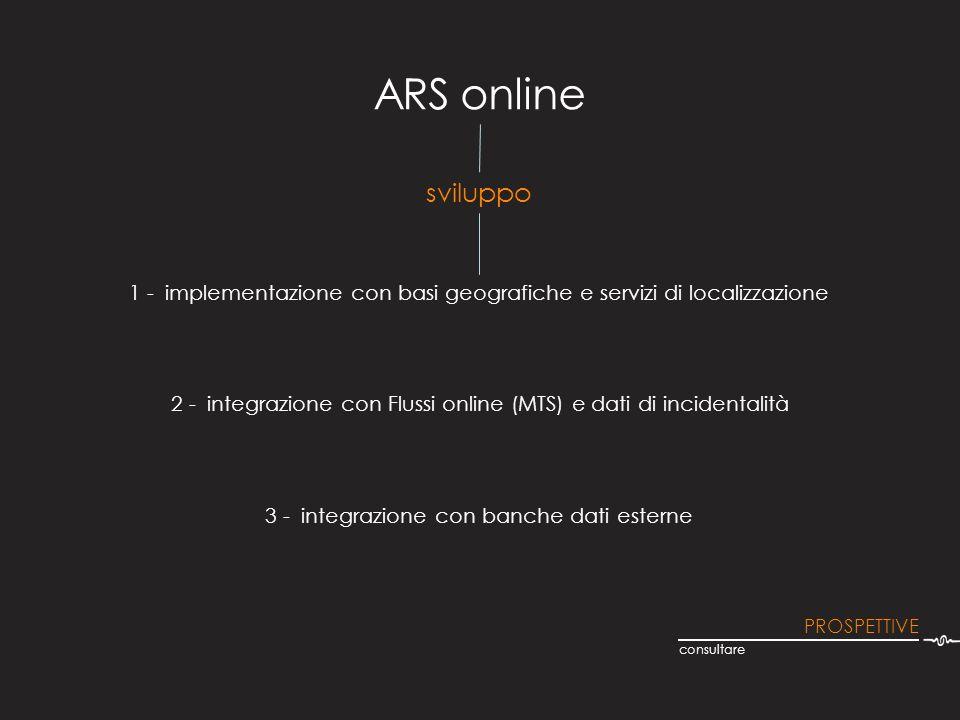 ARS online 1 - implementazione con basi geografiche e servizi di localizzazione consultare sviluppo PROSPETTIVE 2 - integrazione con Flussi online (MT