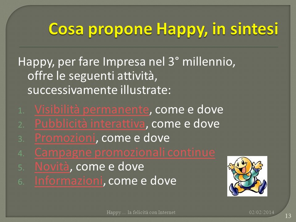 Happy, per fare Impresa nel 3° millennio, offre le seguenti attività, successivamente illustrate: 1. Visibilità permanente, come e dove Visibilità per