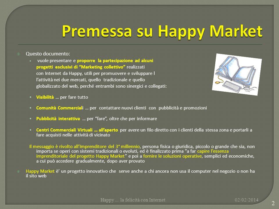 Questo documento: vuole presentare e proporre la partecipazione ad alcuni progetti esclusivi di Marketing collettivo realizzati con Internet da Happy,