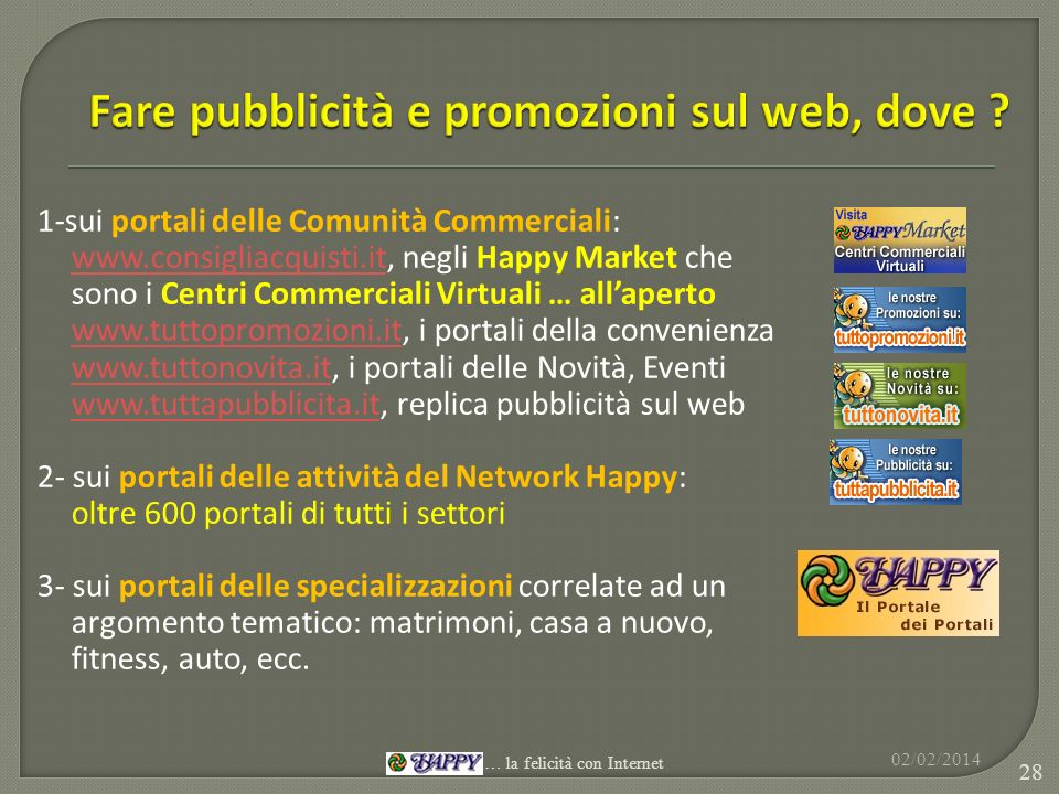 1-sui portali delle Comunità Commerciali: www.consigliacquisti.itwww.consigliacquisti.it, negli Happy Market che sono i Centri Commerciali Virtuali …