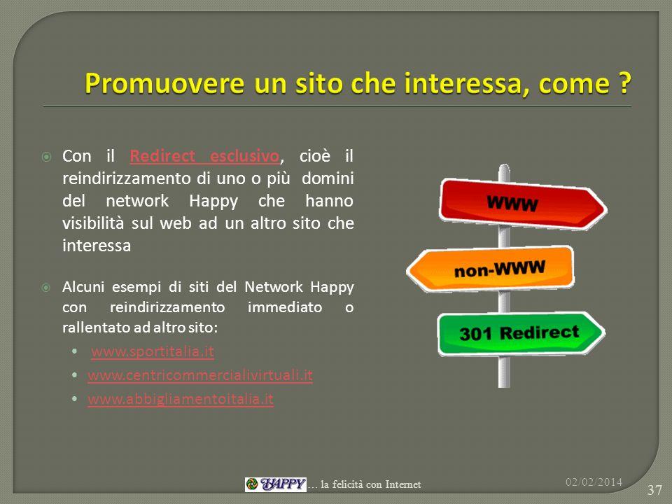 Con il Redirect esclusivo, cioè il reindirizzamento di uno o più domini del network Happy che hanno visibilità sul web ad un altro sito che interessaR