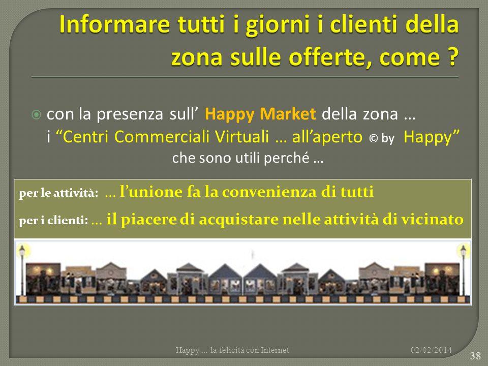 con la presenza sull Happy Market della zona … i Centri Commerciali Virtuali … allaperto © by Happy che sono utili perché … 02/02/2014Happy... la feli