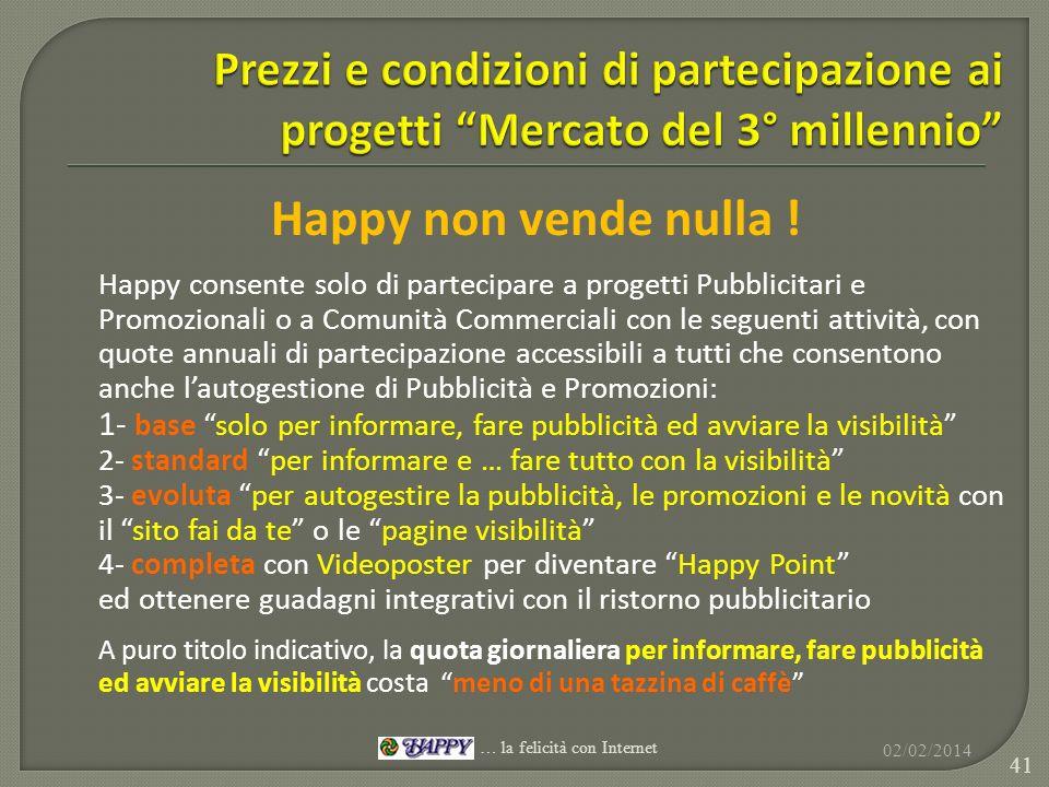 Happy non vende nulla ! Happy consente solo di partecipare a progetti Pubblicitari e Promozionali o a Comunità Commerciali con le seguenti attività, c