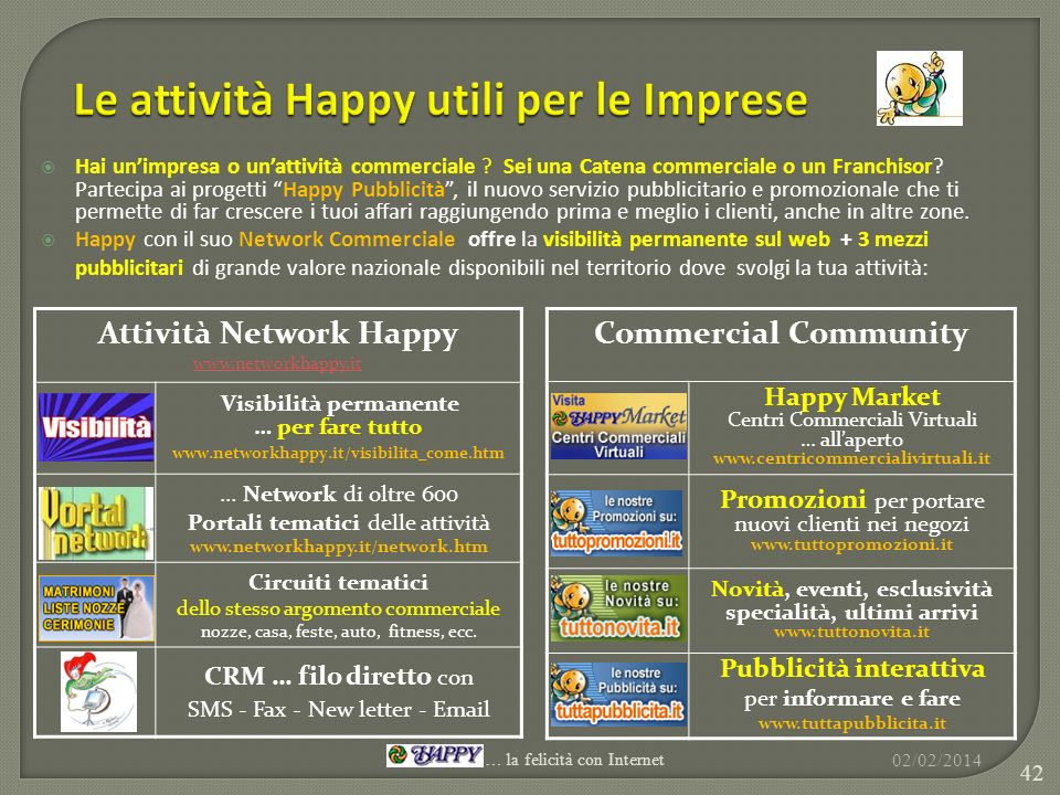 Attività Network Happy www.networkhappy.it Visibilità permanente … per fare tutto www.networkhappy.it/visibilita_come.htm … Network di oltre 600 Porta