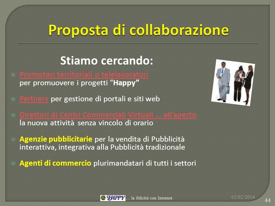 Stiamo cercando: Promotori territoriali o telelavoratori per promuovere i progetti Happy Partners per gestione di portali e siti web Partners Direttor