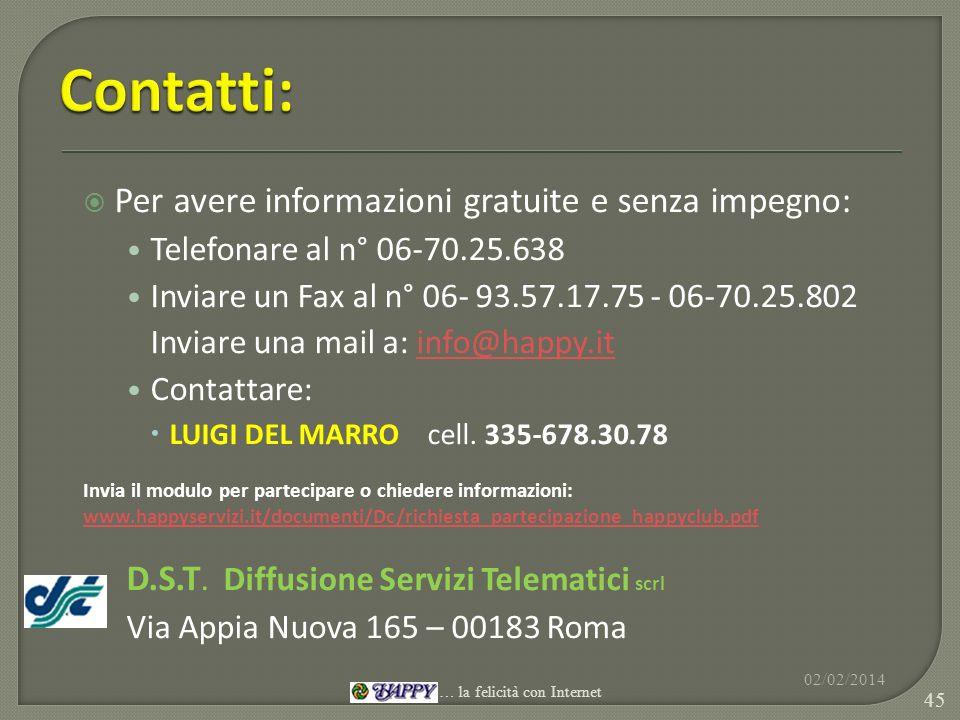 Per avere informazioni gratuite e senza impegno: Telefonare al n° 06-70.25.638 Inviare un Fax al n° 06- 93.57.17.75 - 06-70.25.802 Inviare una mail a: