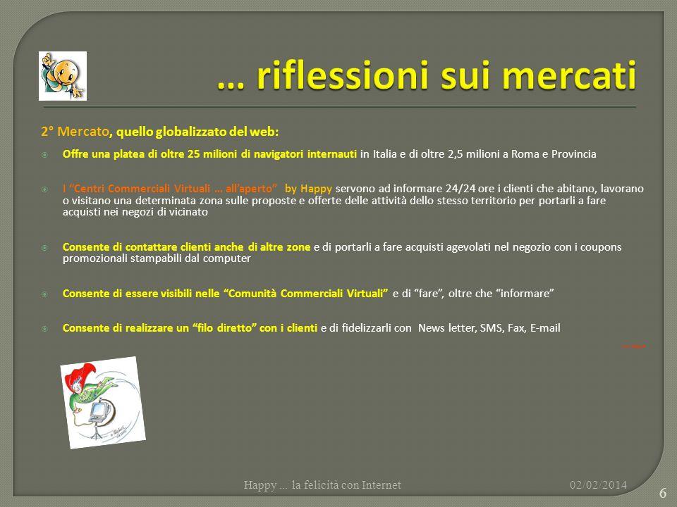 2° Mercato, quello globalizzato del web: Offre una platea di oltre 25 milioni di navigatori internauti in Italia e di oltre 2,5 milioni a Roma e Provi