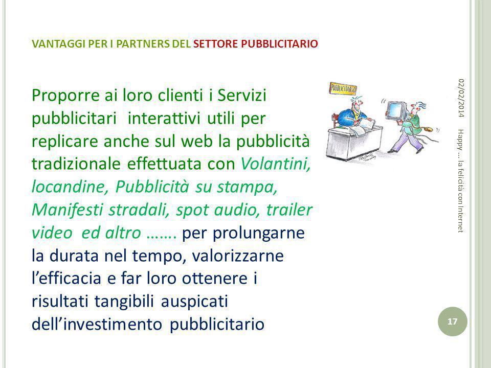 VANTAGGI PER I PARTNERS DEL SETTORE PUBBLICITARIO Proporre ai loro clienti i Servizi pubblicitari interattivi utili per replicare anche sul web la pub