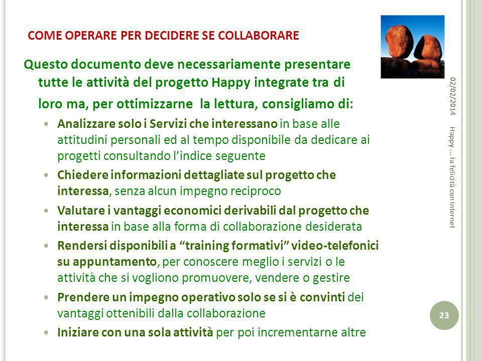 COME OPERARE PER DECIDERE SE COLLABORARE Questo documento deve necessariamente presentare tutte le attività del progetto Happy integrate tra di loro m