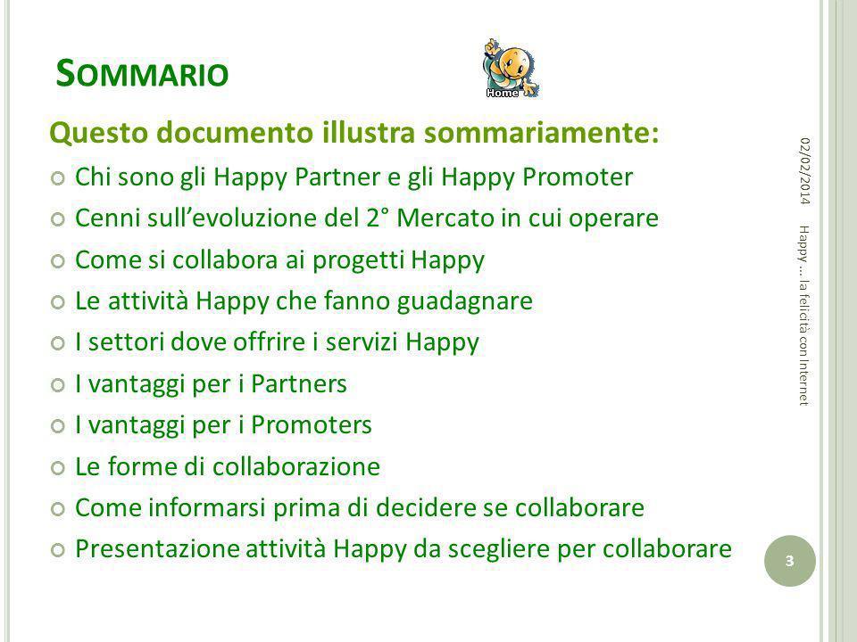 S OMMARIO Questo documento illustra sommariamente: Chi sono gli Happy Partner e gli Happy Promoter Cenni sullevoluzione del 2° Mercato in cui operare