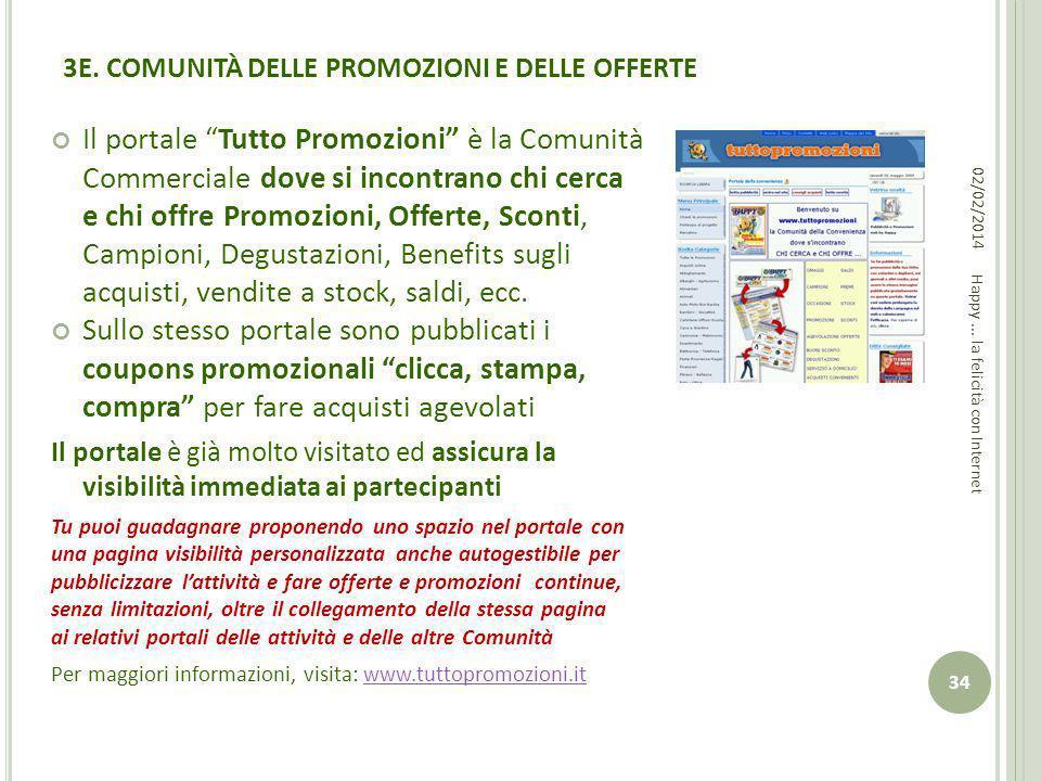 3E. COMUNITÀ DELLE PROMOZIONI E DELLE OFFERTE Il portale Tutto Promozioni è la Comunità Commerciale dove si incontrano chi cerca e chi offre Promozion