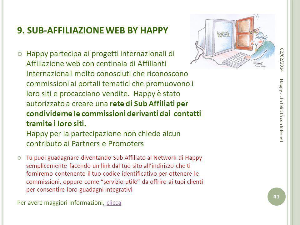 9. SUB-AFFILIAZIONE WEB BY HAPPY Happy partecipa ai progetti internazionali di Affiliazione web con centinaia di Affilianti Internazionali molto conos