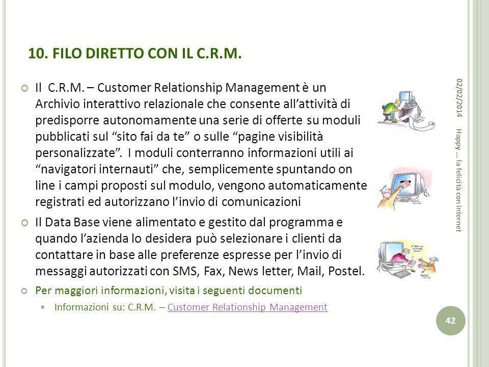 10. FILO DIRETTO CON IL C.R.M. Il C.R.M. – Customer Relationship Management è un Archivio interattivo relazionale che consente allattività di predispo